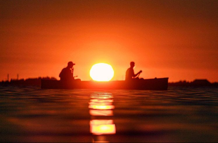 beach crescent sunset canoe golden hour people silhouettes Reflection Sunset Photo Photography Photographer DOF Canon T5i Rebel EOS
