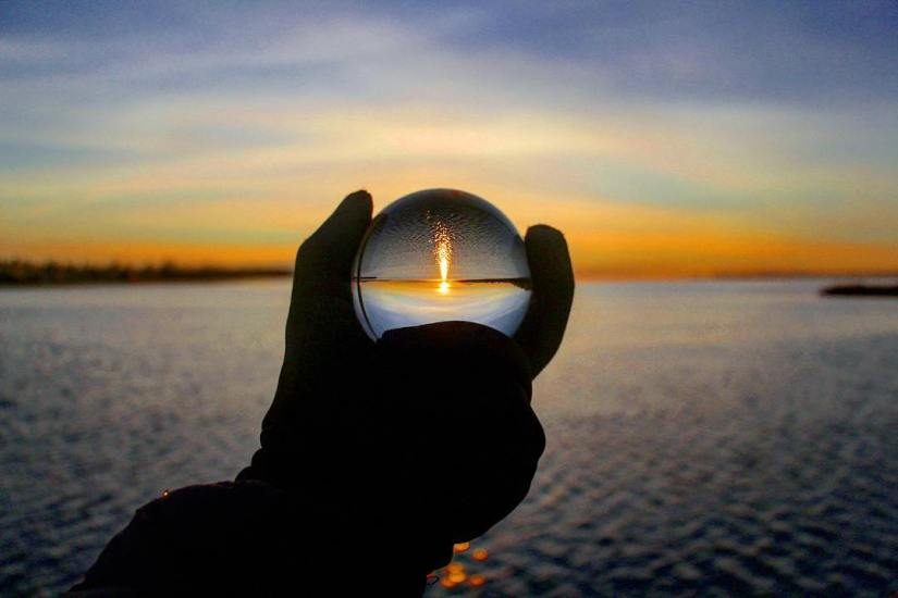 lensball-white rock- british columbia-silhouette-reflection-